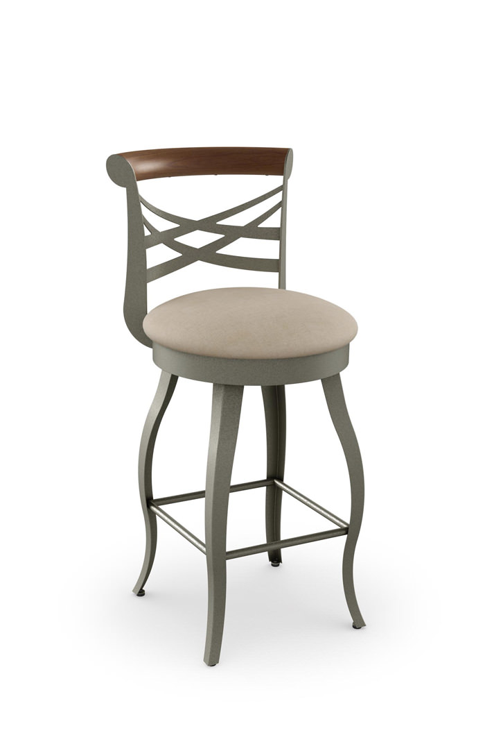 Amisco Whisky Swivel Stool with Cabriole Legs and Cross Backrest