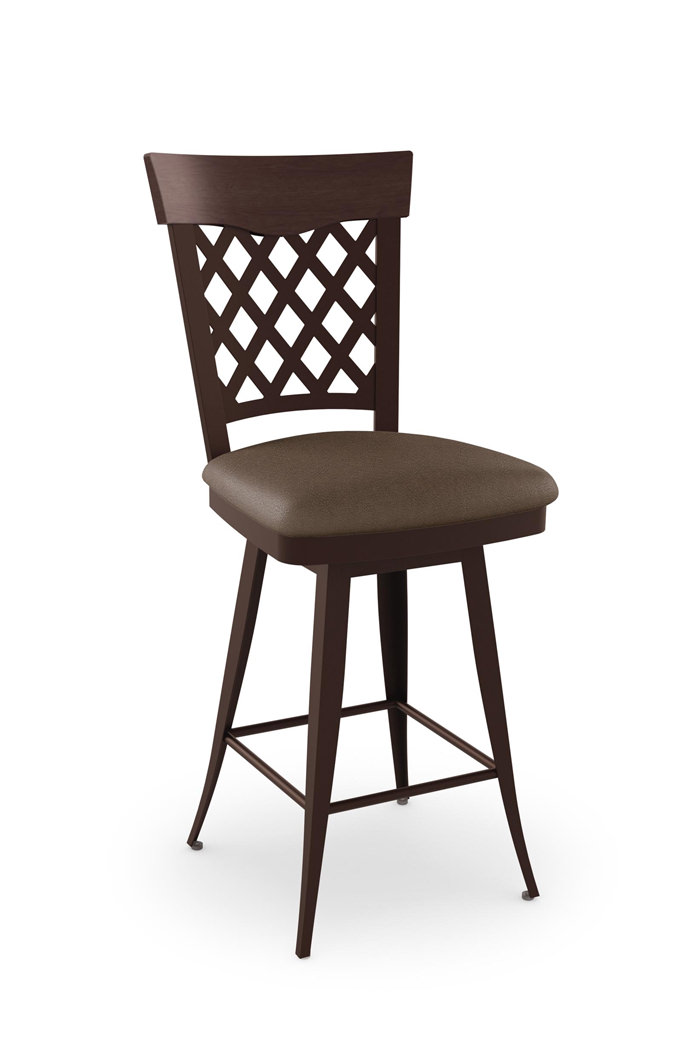 Amisco Wicker Swivel Metal Stool W High Backrest Free