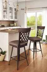 Amisco's Wicker Swivel Bar Stool with Lattice Back and Seat Cushion - Shown in Traditional Kitchen