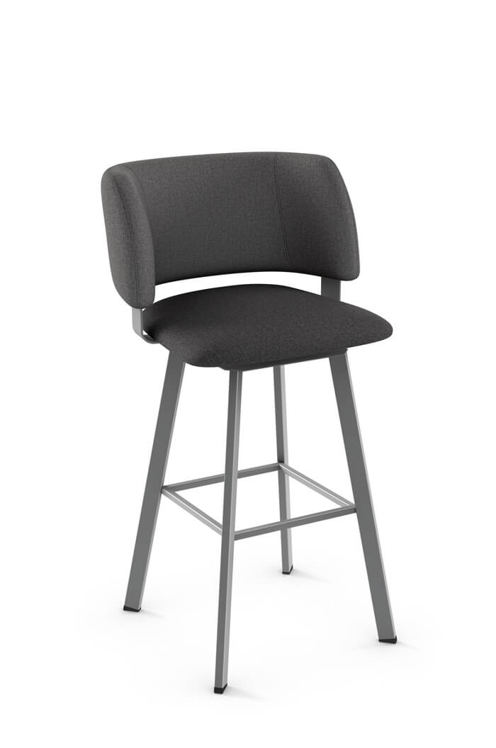 Amisco Easton Swivel Stool with Barrel Shaped Back and Square Seat