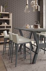 Amisco's Ethan Bar Stools with Low, Upholstered Back and Seat in Transitional Chic Dining Room