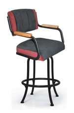 Tobias Designs M-111 Swivel Bar Stool with Wooden Arms and Upholstered Back and Seat