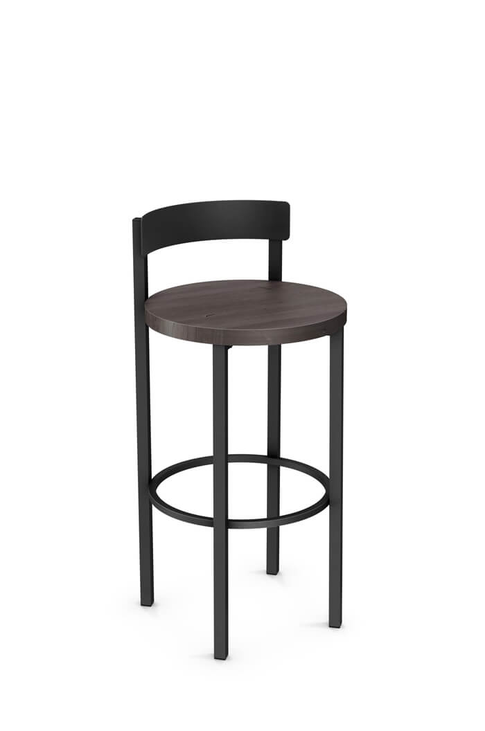 Amisco Zoe Non-Swivel Stool with Wood Seat