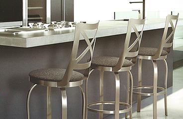 Brushed steel stools