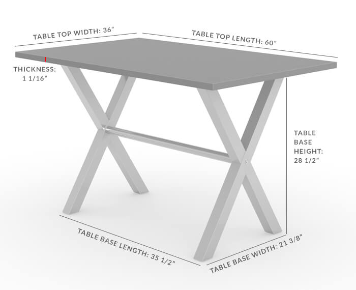 Alex Dining Table - Dimensions