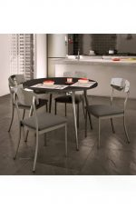 Amisco Alys Round Dining Table with Wood Top in Dining Room with Chairs