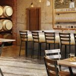 Amisco Dexter Stool with Metal Frame and Wood Seat in Urban Bar