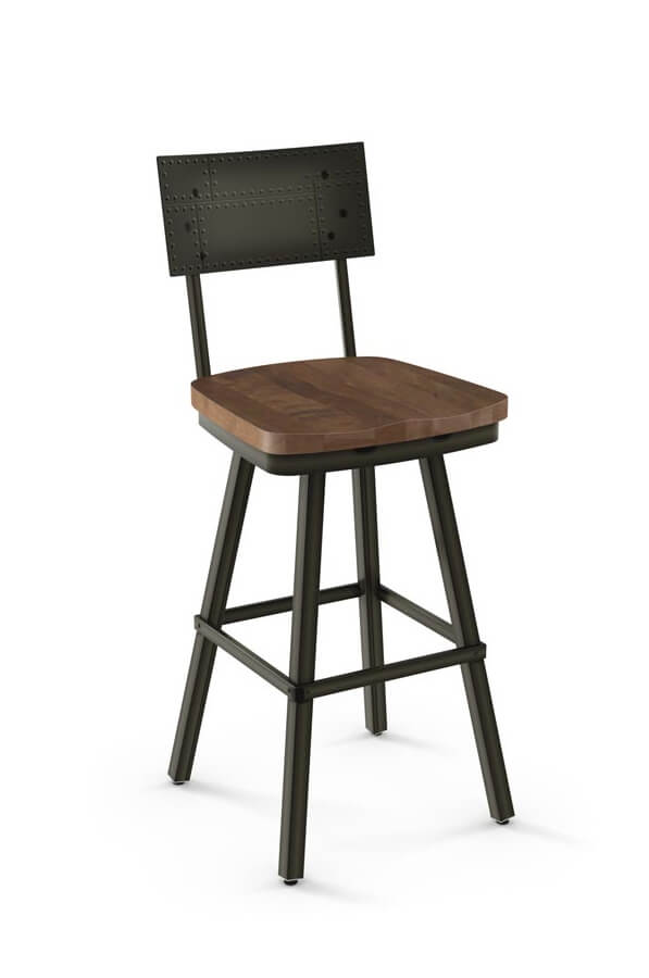 Amisco Jetson Swivel Stool with Wood Seat and Metal Backrest