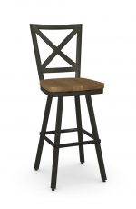 Amisco's Kent Industrial Swivel Bar Stool with Wood Seat and Cross Back Design