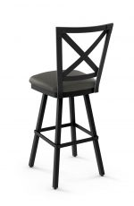 Amisco's Ken Swivel Metal Bar Stool with Cross Back Design and Square Seat Cushion - Back View