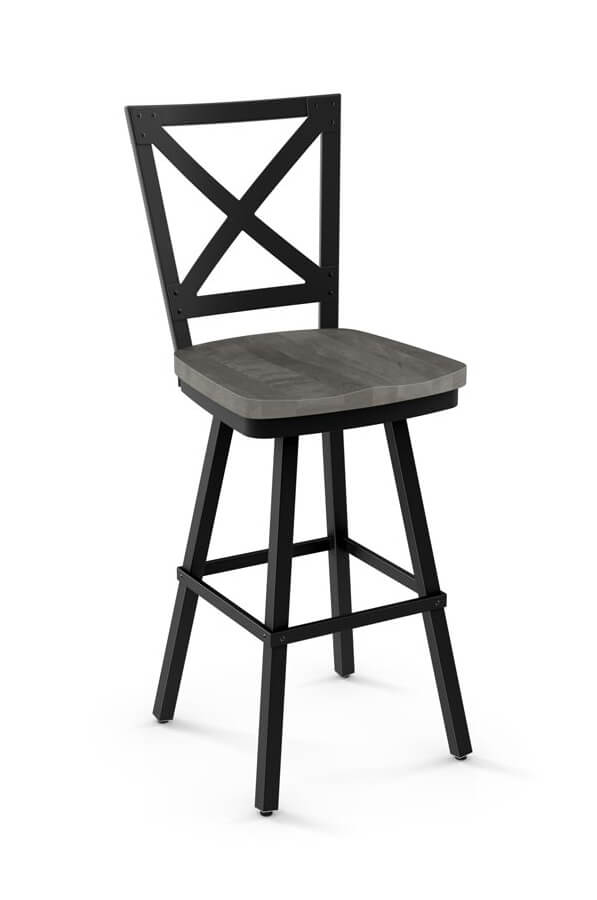 Amisco Kent Swivel Stool with Wood Seat and Cross Back