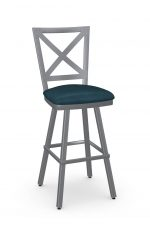 Amisco's Kent Swivel Silver Bar Stool with Cross Back Design and Blue Seat Cushion