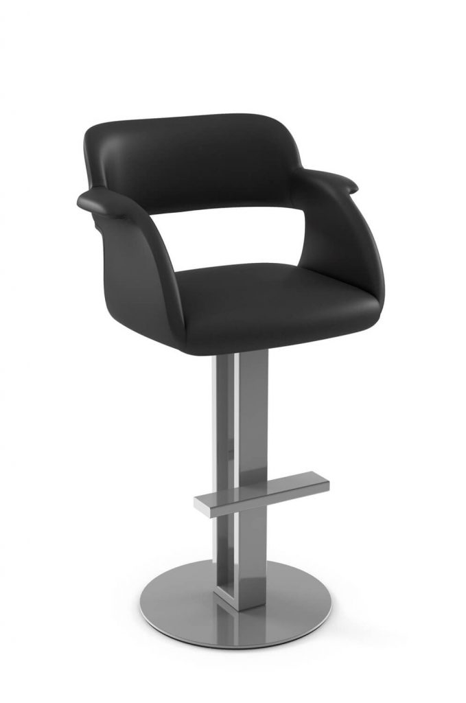 Amisco's Positano Modern Swivel Upholstered Barstool with Pedestal Base in Stainless and Black Seat and Back Cushion