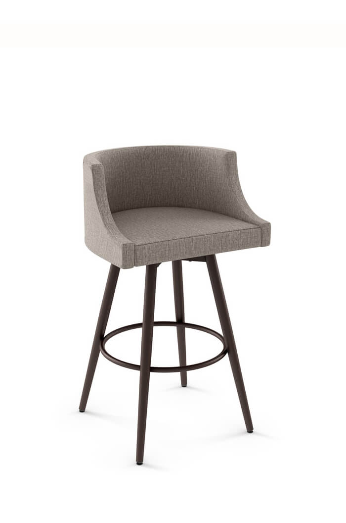 Amisco Radcliff Swivel Stool with Barrel-Shaped Back and Metal Base