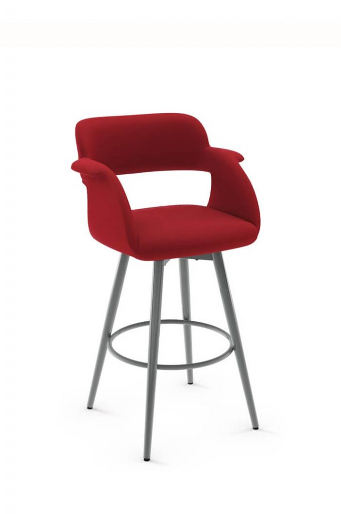 Amisco Sorrento Modern Swivel Stool in Red Fabric