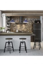 Amisco Architect Backless Screw Metal Stool in Modern Industrial Kitchen