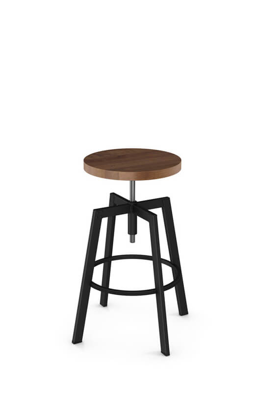 Amisco Architect Backless Screw Stool W Wood Seat Free