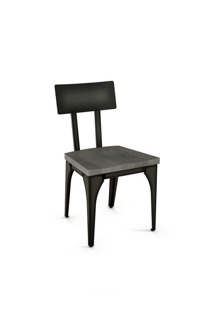Amisco Architect Dining Chair With Wood Seat And Metal Backrest Frame