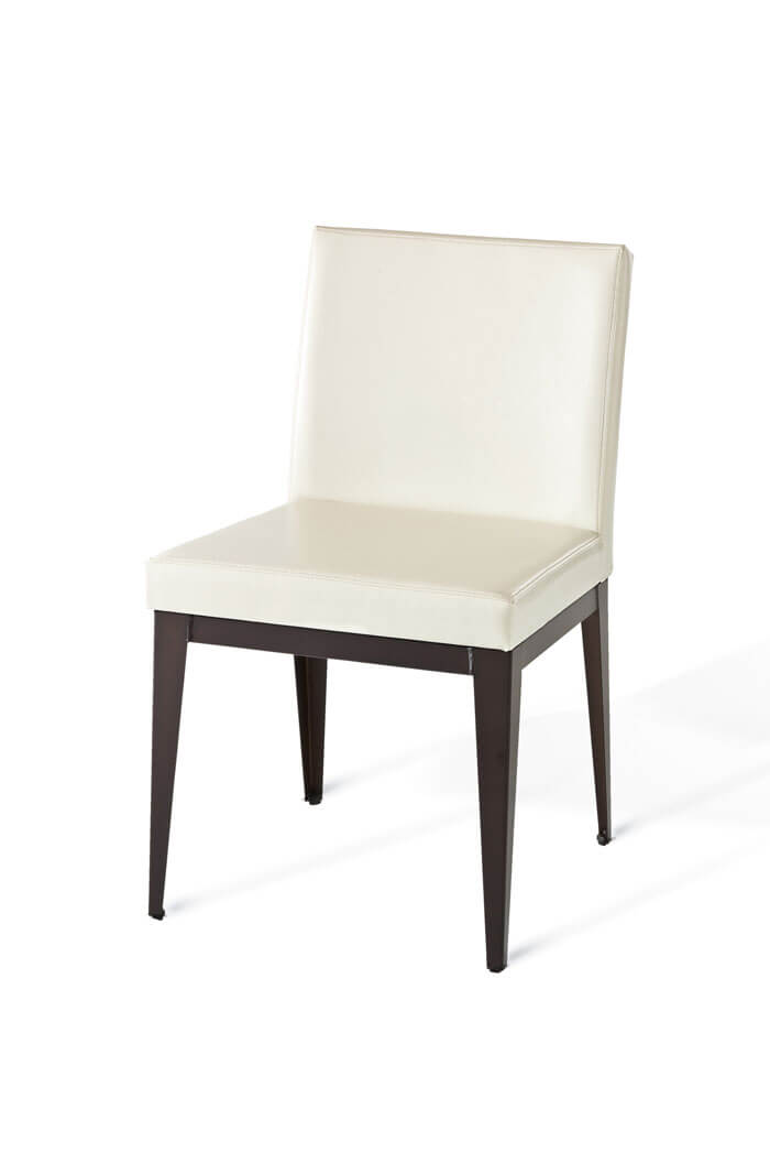 ... Amisco Pablo Modern Metal Dining Chair With Upholstered White Seat And  Back ...