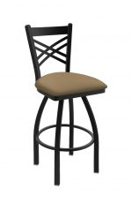 Holland Bar Stool's Catalina #820 Swivel Barstool with Back, in Black metal finish and Brown Sand vinyl