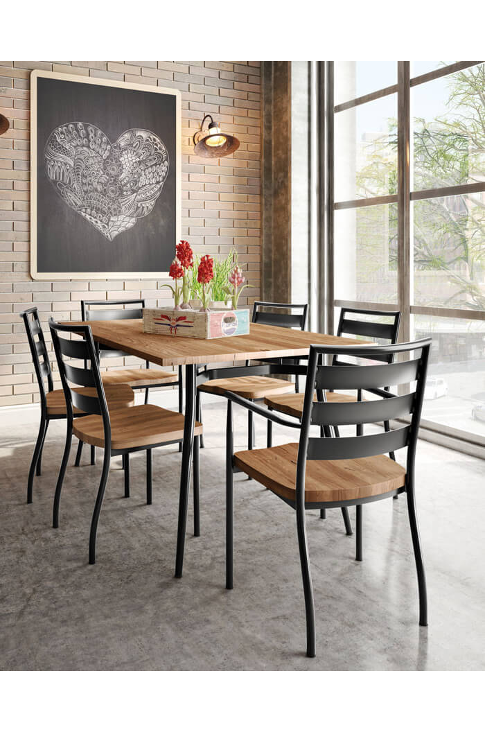 ... Amisco Tori Dining Chair With Wood Seat On Modern Dining Room