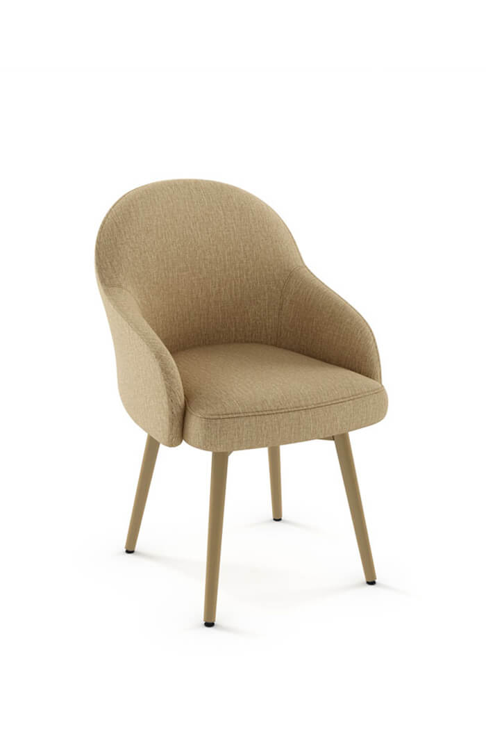 Amisco Weston Upholstered Dining Chair in Gold Metal Finish