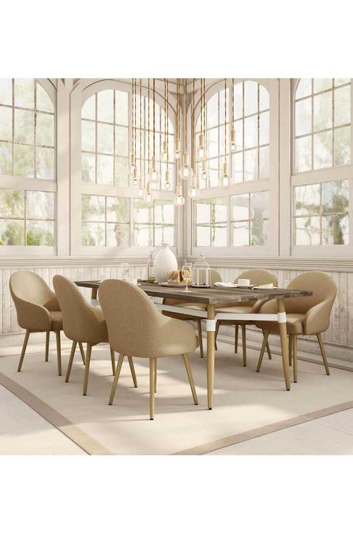 Amisco weston swivel upholstered elegant dining chair for Elegant upholstered dining chairs