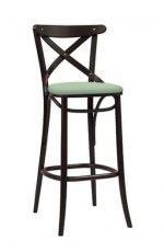 Bentwood Durable Kitchen Stool with Mint Green Seat Cushion