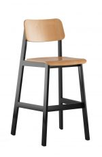 Grand Rapids Sadie Stool with Black Metal Frame and Natural Wood
