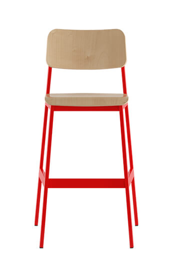 Sa Indoor Bar Stool With Red Metal Frame And Wood