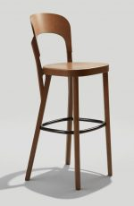 Grand Rapid's Tilly Barstool with Curved Back in Honey Wood Finish
