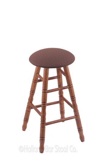 Round Cushion Hardwood Backless Stool W Turned Legs