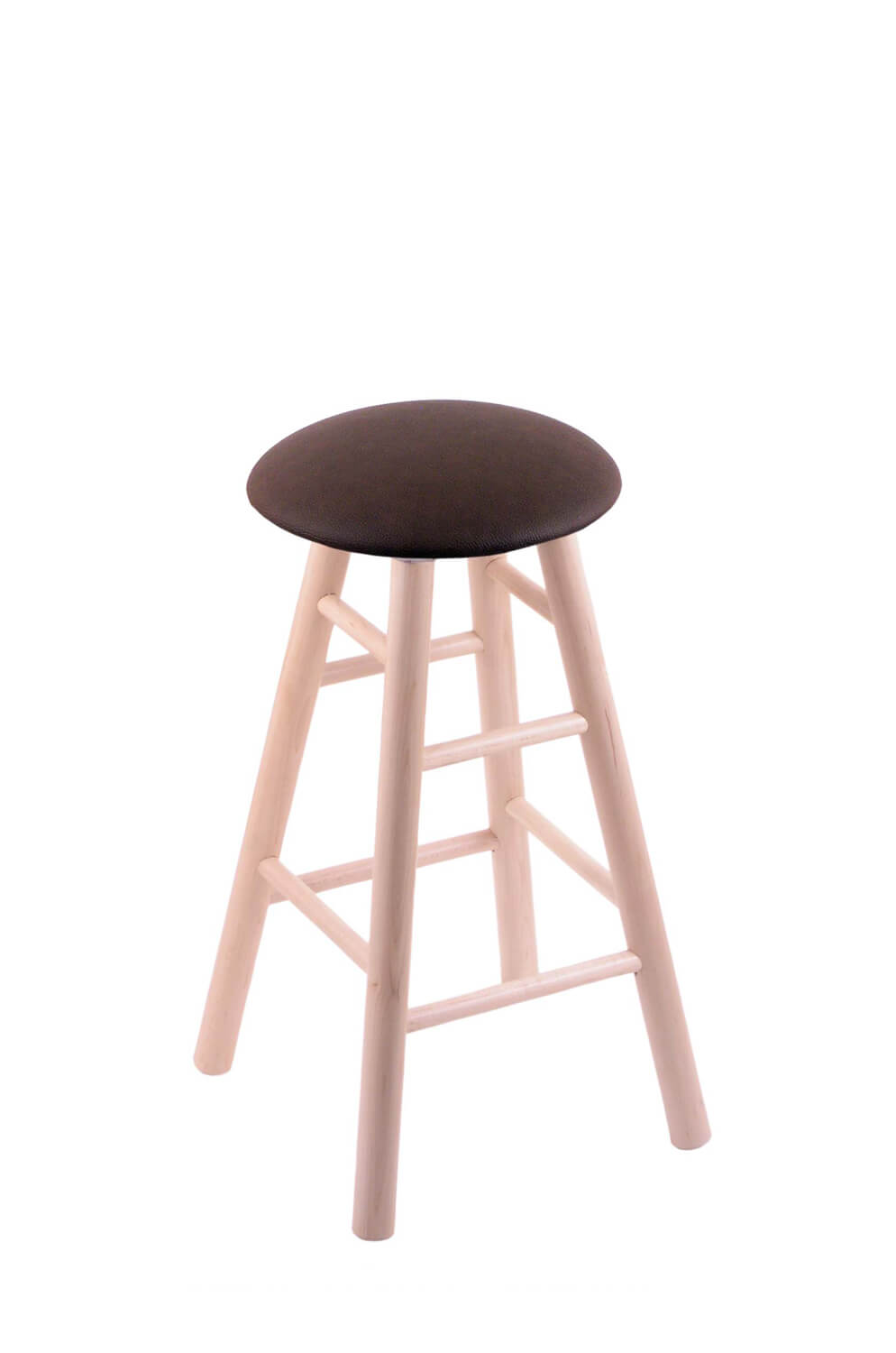 Hollands round cushion swivel backless wooden barstool in natural and rein coffee vinyl