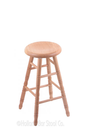 Holland Bar Stool Co. Saddle Dish Domestic Hardwood Backless Swivel Stool with Turned Legs