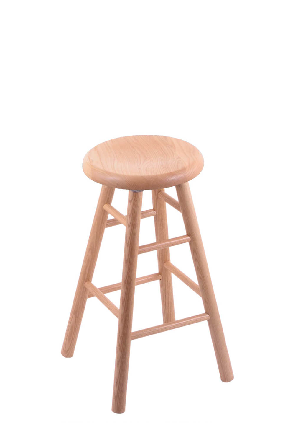 Holland S Saddle Dish Backless Wood Swivel Bar Stool With Smooth Legs In Natural Oak Finish