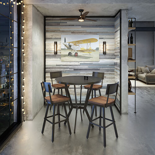 A metal pub table that seats 4, great for entertaining in an apartment