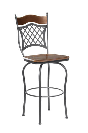 Raphael 1 Swivel Stool with Wood Seat and Lattice Backrest