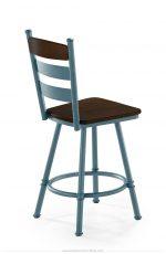 Trica's Louis Blue Farmhouse / Country Swivel Bar Stool with Espresso Seat and Back Wood Finish