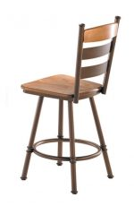 Trica's Louis Swivel Stool with Wood Seat and Ladder Back