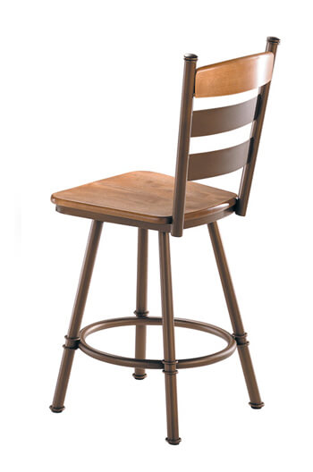 Louis Swivel Stool with Wood Seat and Backrest