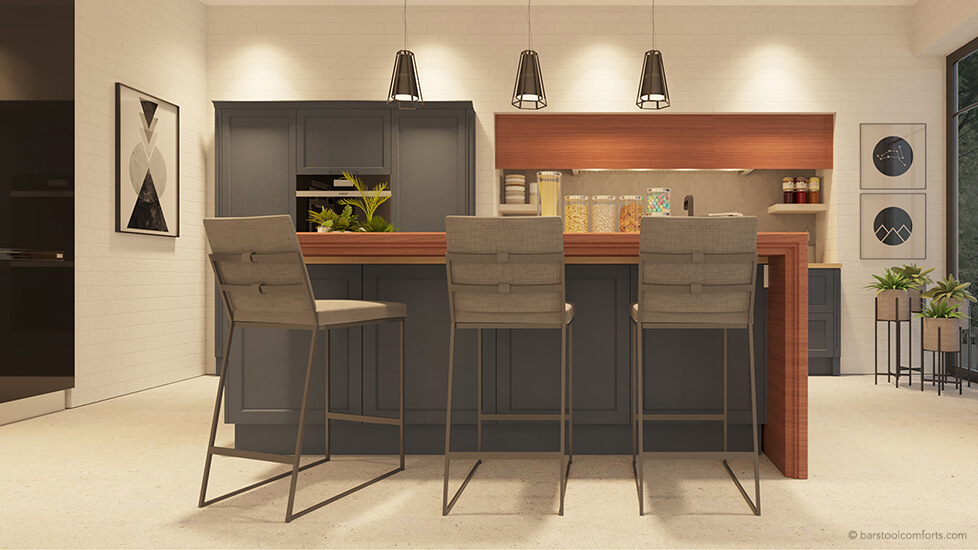 Wesley Allen's Marbury Luxury Metal Bar Stools in Modern Kitchen