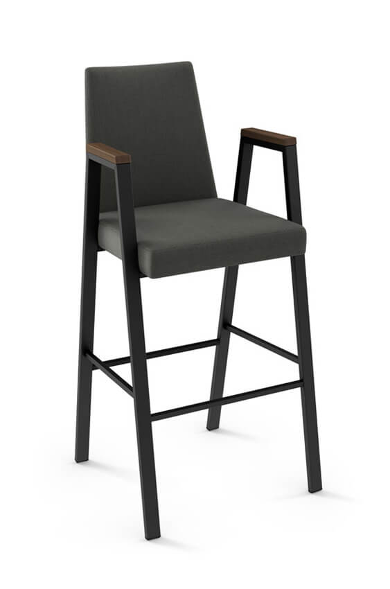 Amisco Edison Stool with Arms and Upholstered Seat and Backrest