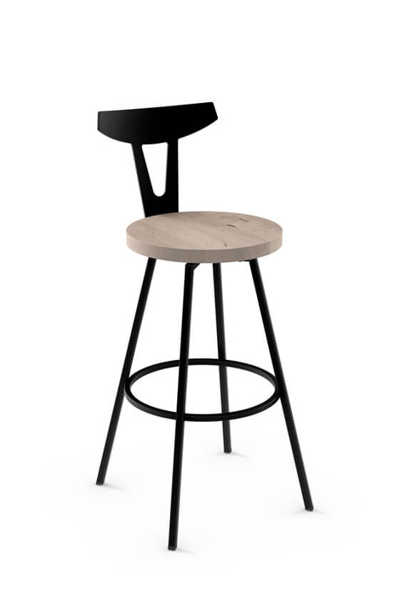 Super Hans Swivel Stool With Distressed Wood Seat Ncnpc Chair Design For Home Ncnpcorg