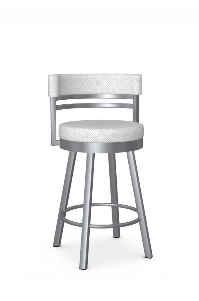 Amisco's Ronny Modern Swivel Bar Stool in Silver