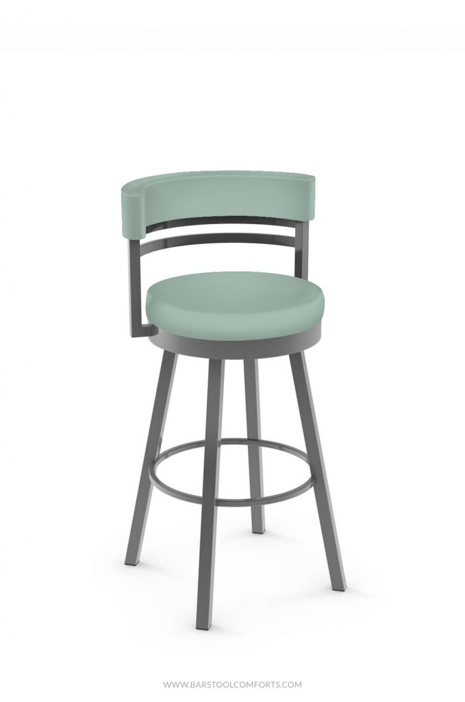 Amisco's Ronny Swivel Bar Stool in Seafoam Green (DC Riviera) vinyl and Silver (24 Magnetite) metal finish