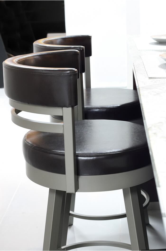 ... Amiscou0027s Ronny Swivel Barstool with Short Back and Round Seat ...  sc 1 st  Barstool Comforts : swiveling bar stools - islam-shia.org