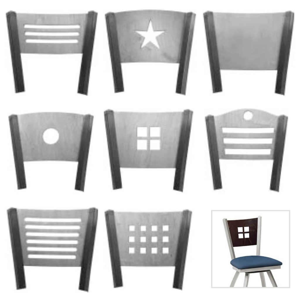 Available in back design cut-outs including dot, picture frame, matrix, star, three lines and more!