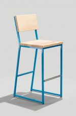 Grand Rapid's Brady Modern Stationary Schoolhouse Barstool with Wood Back and Seat