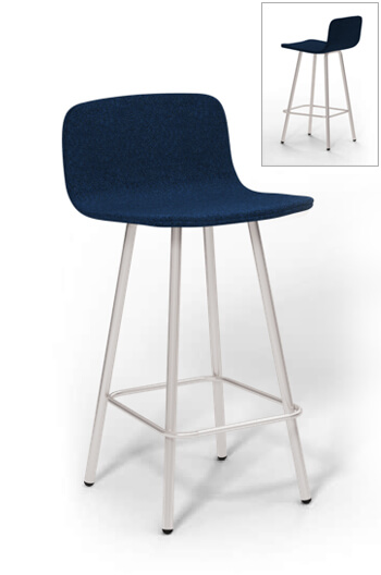 Harper Modern Sleek Counter Stool W Low Padded Back
