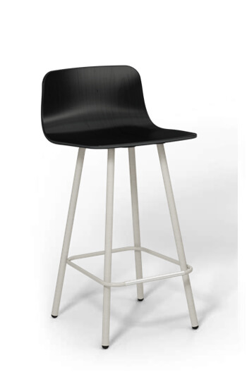 Harper Black and Silver Counter Stool for Modern Kitchens